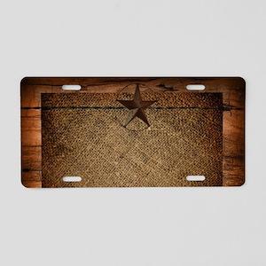 burlap barn wood texas star Aluminum License Plate