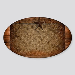 burlap barn wood texas star  Sticker (Oval)