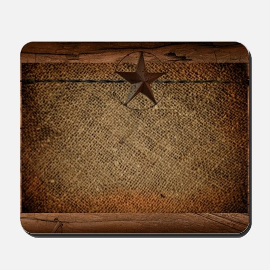 burlap barn wood texas star  Mousepad