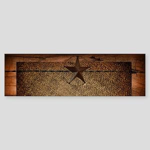 burlap barn wood texas star Bumper Sticker