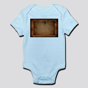 burlap barn wood texas star Body Suit