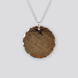 burlap barn wood texas star Necklace Circle Charm