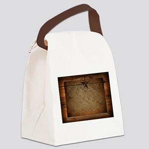 burlap barn wood texas star Canvas Lunch Bag