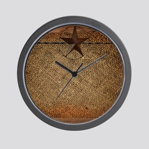 burlap barn wood texas star Wall Clock