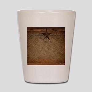 burlap barn wood texas star Shot Glass