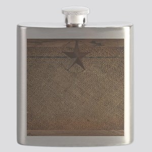 burlap barn wood texas star Flask