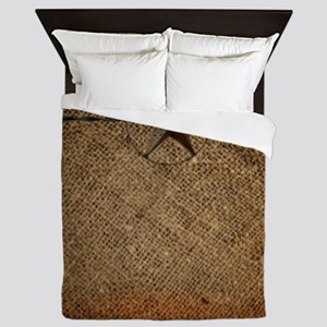 burlap barn wood texas star Queen Duvet