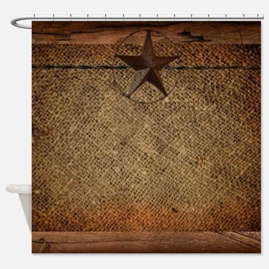 burlap barn wood texas star Shower Curtain