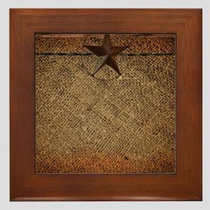 burlap barn wood texas star Framed Tile