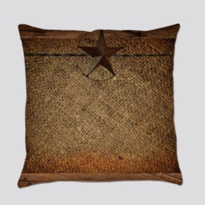 burlap barn wood texas star Everyday Pillow