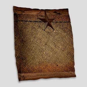 burlap barn wood texas star Burlap Throw Pillow