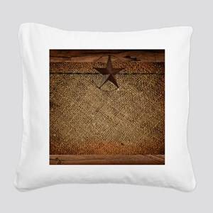 burlap barn wood texas star Square Canvas Pillow