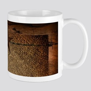 burlap barn wood texas star Mugs