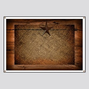burlap barn wood texas star Banner