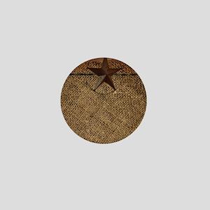 burlap barn wood texas star Mini Button