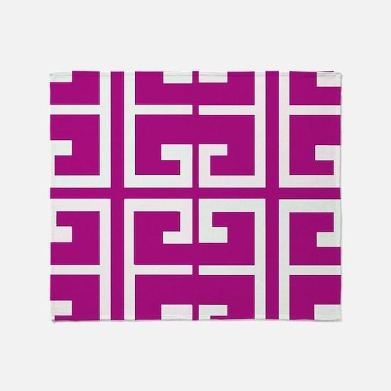 Roman Magenta Tiles Throw Blanket