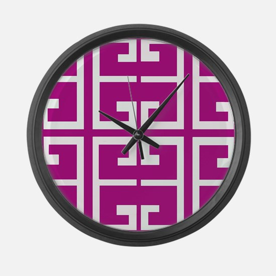 Roman Magenta Tiles Large Wall Clock
