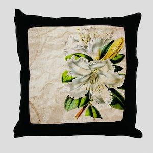 french botanical white lily Throw Pillow