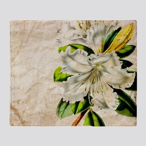 french botanical white lily Throw Blanket