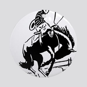cowboy bucking horse Round Ornament