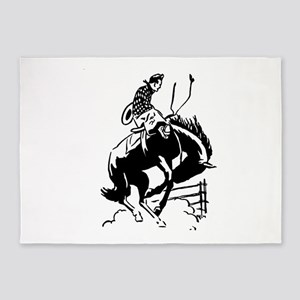 cowboy bucking horse 5'x7'Area Rug