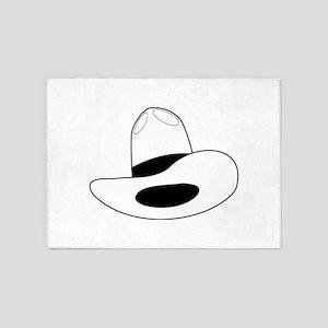 cowboy hat - outline 5'x7'Area Rug