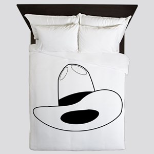 cowboy hat - outline Queen Duvet