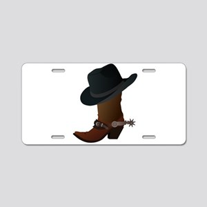 boot- black hat Aluminum License Plate