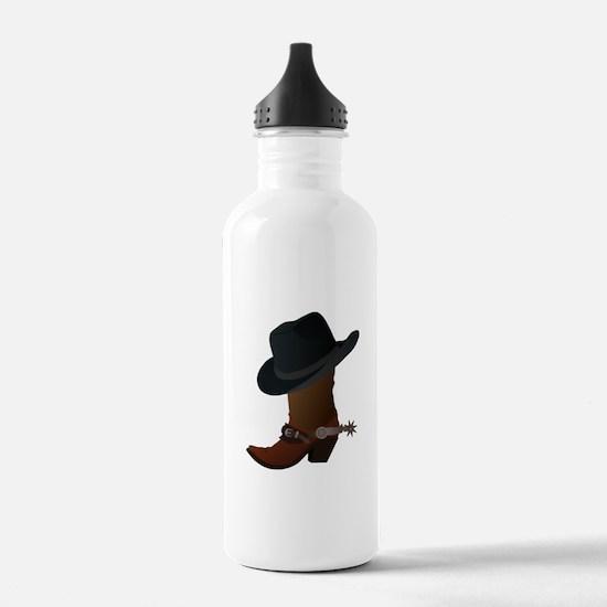boot- black hat Water Bottle