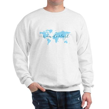 Wanderlust Blue World Map Sweatshirt Cafepress Com