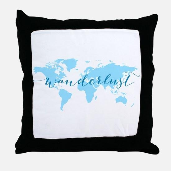 Wanderlust, blue world map Throw Pillow