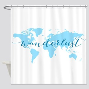 Wanderlust, blue world map Shower Curtain