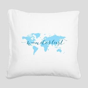 Wanderlust, blue world map Square Canvas Pillow