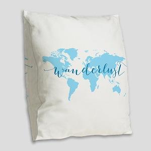 Wanderlust, blue world map Burlap Throw Pillow