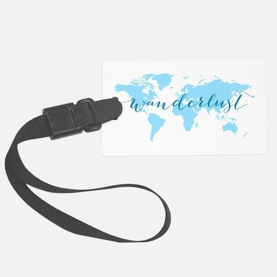 Wanderlust, blue world map Large Luggage Tag