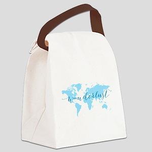 Wanderlust, blue world map Canvas Lunch Bag