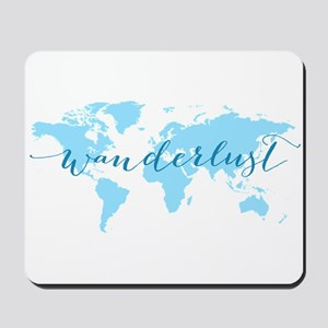 Wanderlust, blue world map Mousepad