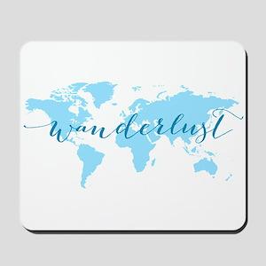 Wanderlust, blue world map Mousepad