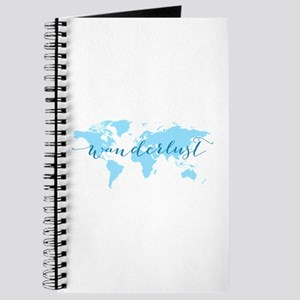 Wanderlust, blue world map Journal