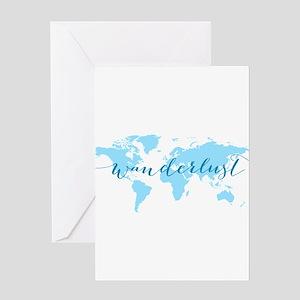 Wanderlust, blue world map Greeting Cards