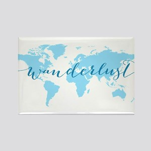 Wanderlust, blue world map Magnets