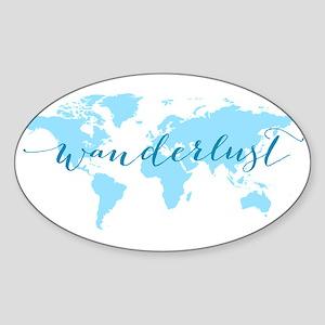 Wanderlust, blue world map Sticker