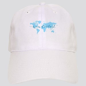Wanderlust, blue world map Cap