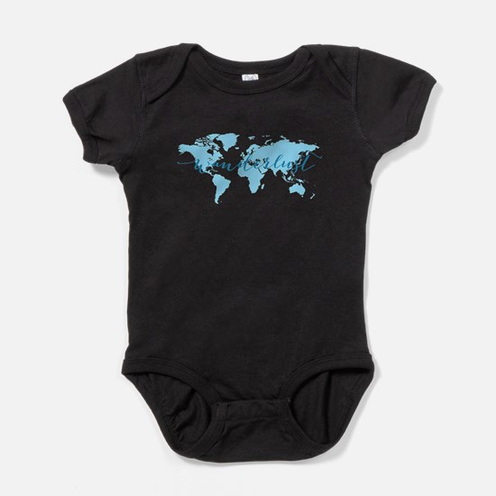Wanderlust, blue world map Baby Bodysuit