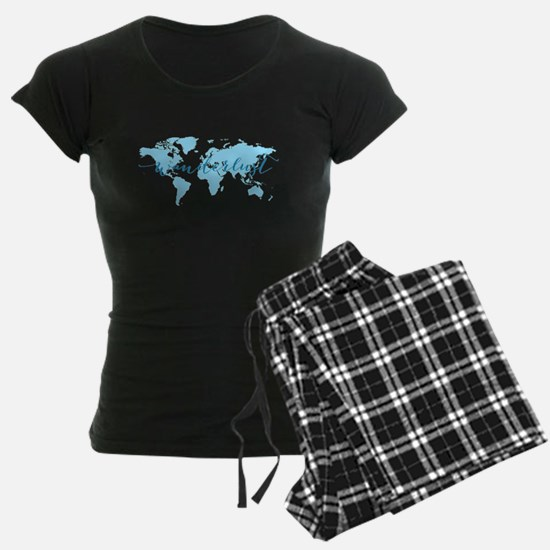 Wanderlust, blue world map pajamas