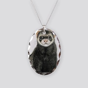 High detail ferret design Necklace Oval Charm