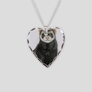 High detail ferret design Necklace Heart Charm