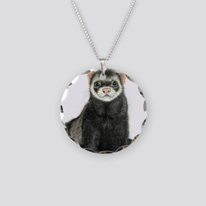 High detail ferret design Necklace Circle Charm