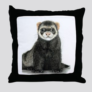 High detail ferret design Throw Pillow