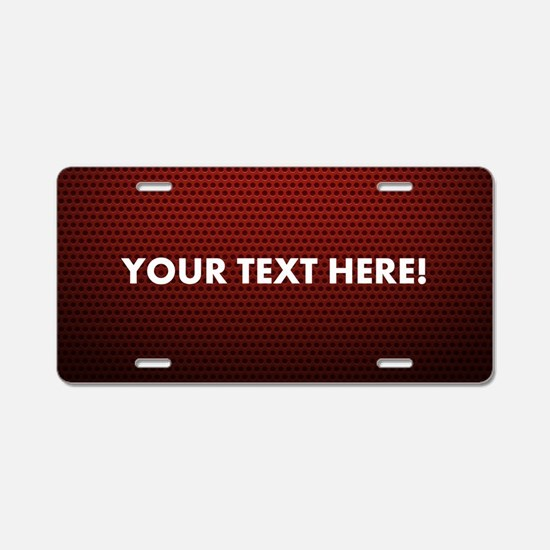 Custom Red Aluminum License Plate